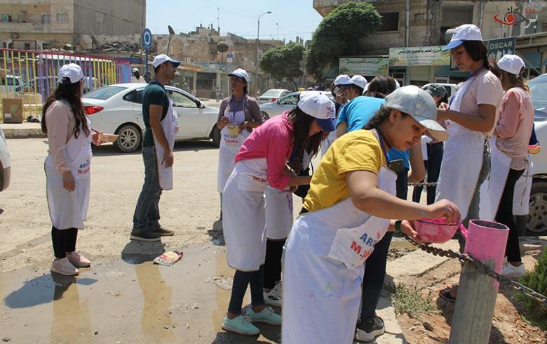 حملة طلاء وتزيين في ساحة آزادي وأعمدة الشوارع بمركز المدينة