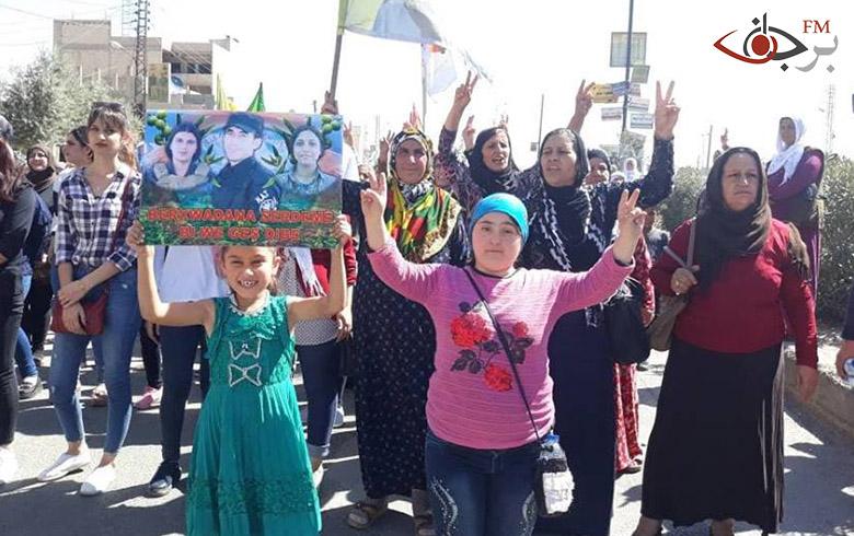 خروج أهالي قامشلو في مسيرة تضامنية دعماً لعفرين وتنديدأ بالتدخل التركي