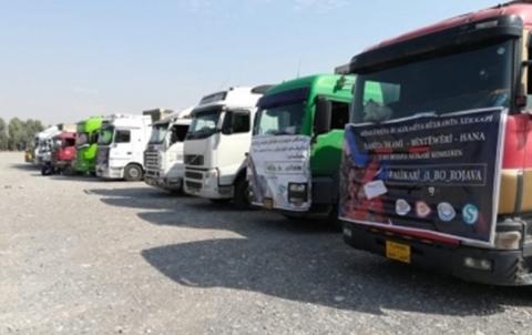 المؤسسة بارزاني الخيرية في إقليم  كردستان أرسلت حتى الآن 200 شاحنة مساعدات إلى روجآفا وهي الدفعة السادسة