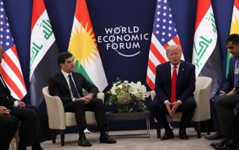 لقاء يجمع الرئيس الأمريكي ترامب برئيس إقليم كوردستان نيجرفان بارزاني في دافوس