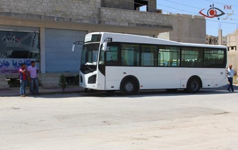 باصات النقل الداخلي للمرة الاولى تعمل في كُوباني