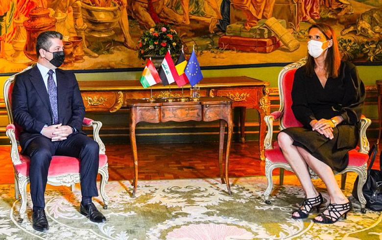 رئيس حكومة إقليم كوردستان يجتمع مع نائبة رئيس الوزراء وزيرة الخارجية البلجيكية